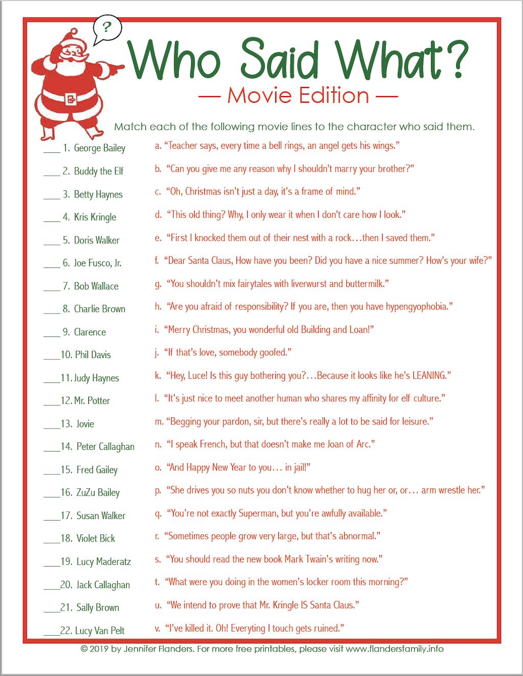 Who Said What Christmas Trivia Game
