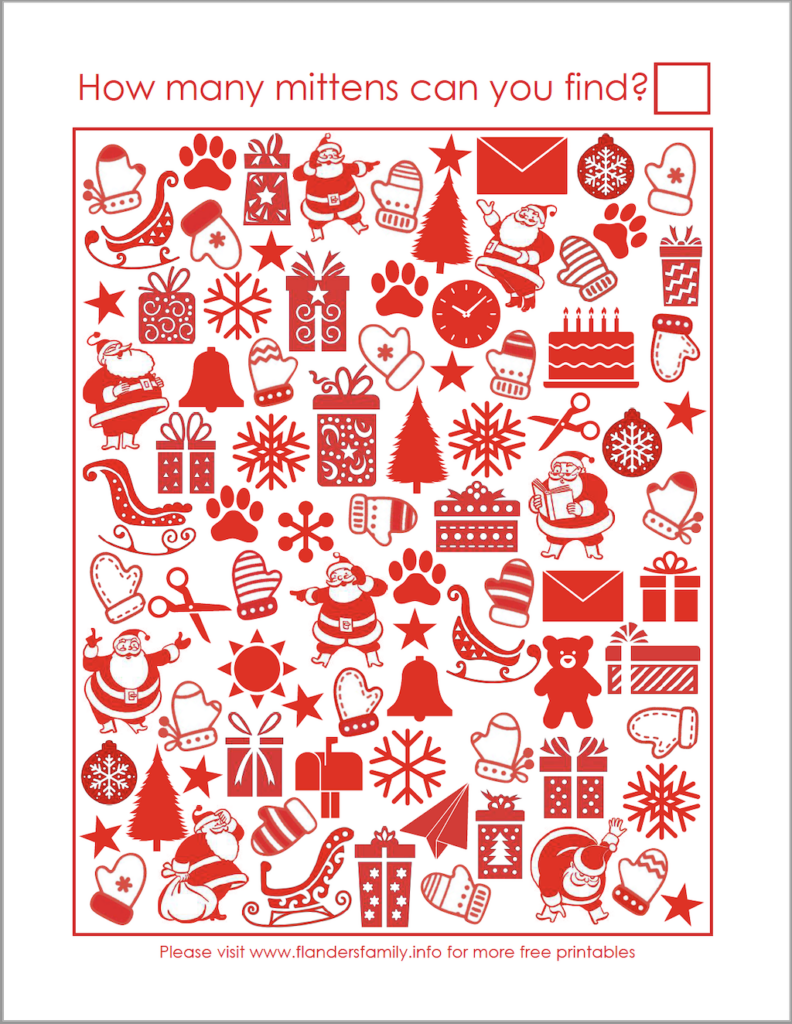 Winter-Themed Activity Pages - I Spy Mittens