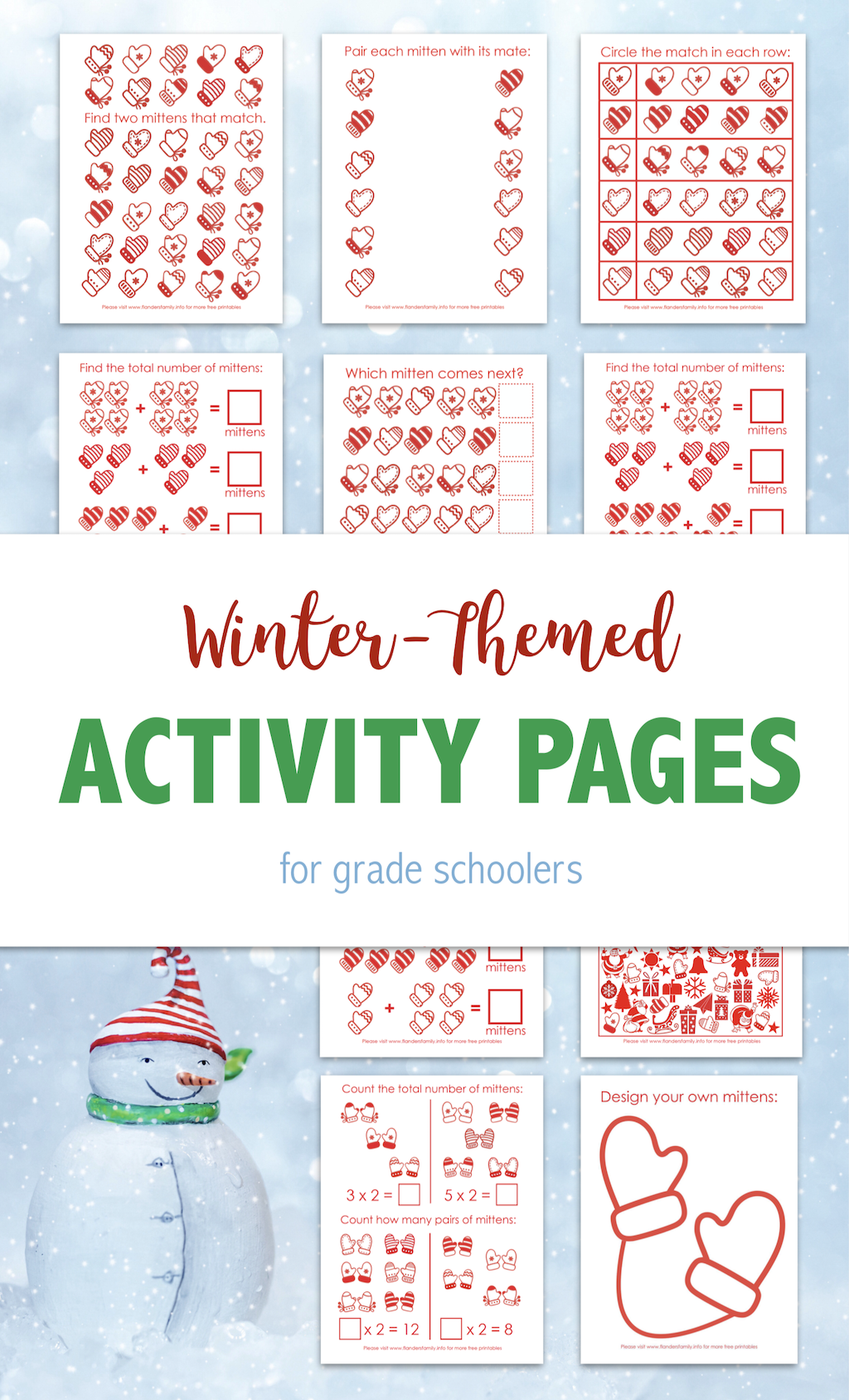 Winter-Themed Activity Pages for Young Children