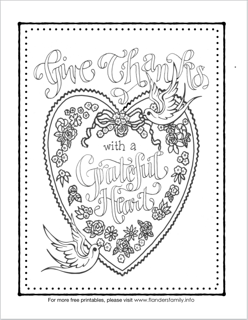 A Grateful Heart Coloring Page