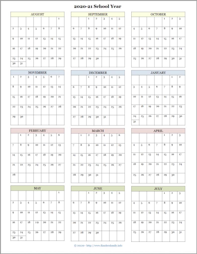 2020-21 Academic Calendar (August Start)