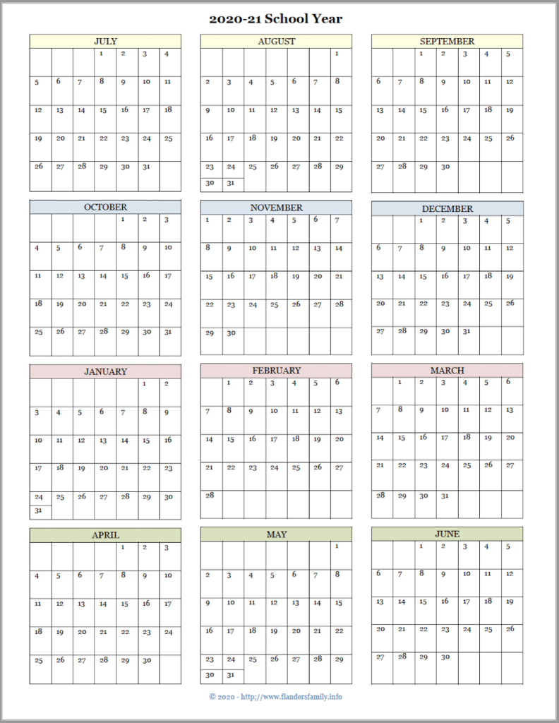 2020-21 Academic Calendar (July Start)