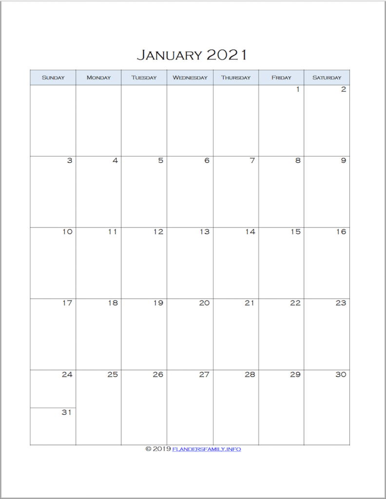 2021 Month-by-Month Calendars for Advanced Planning
