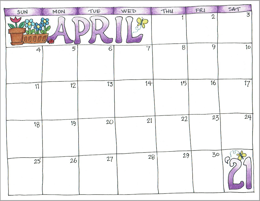 2021 Scrapbook Calendar - April