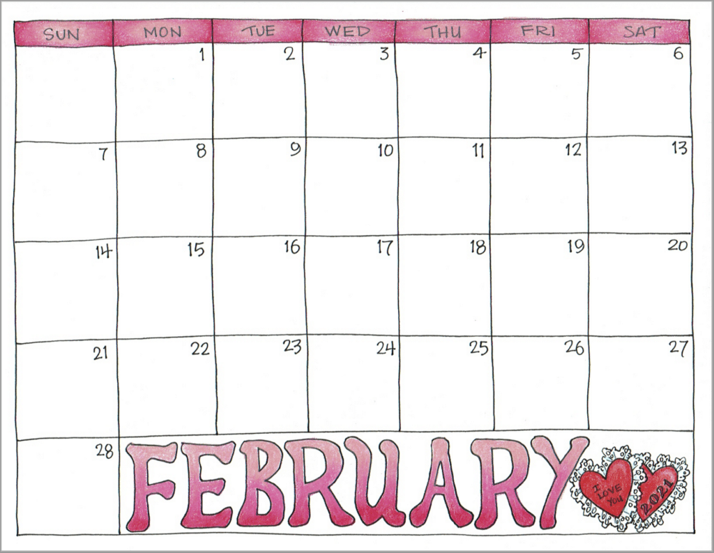 2021 Scrapbook Calendar - February