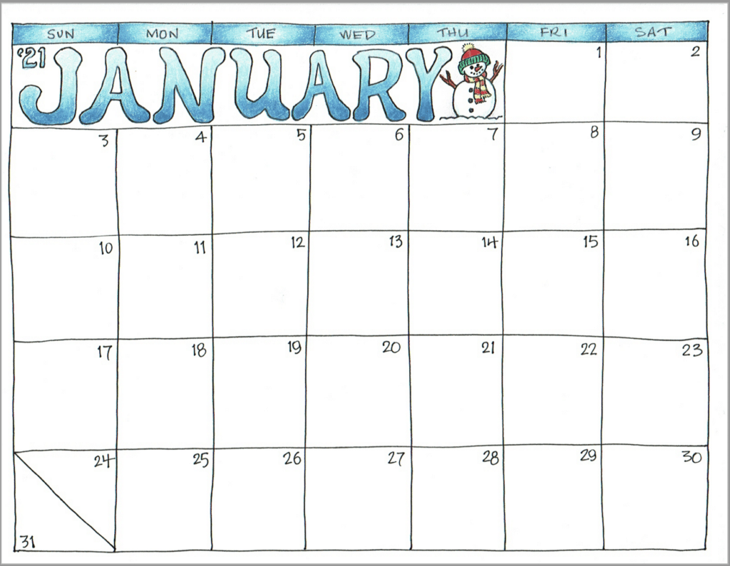 2021 Scrapbook Calendar - January