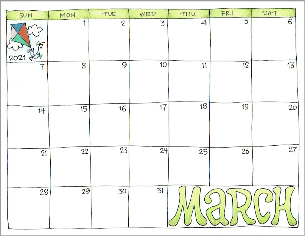 2021 Scrapbook Calendar - March