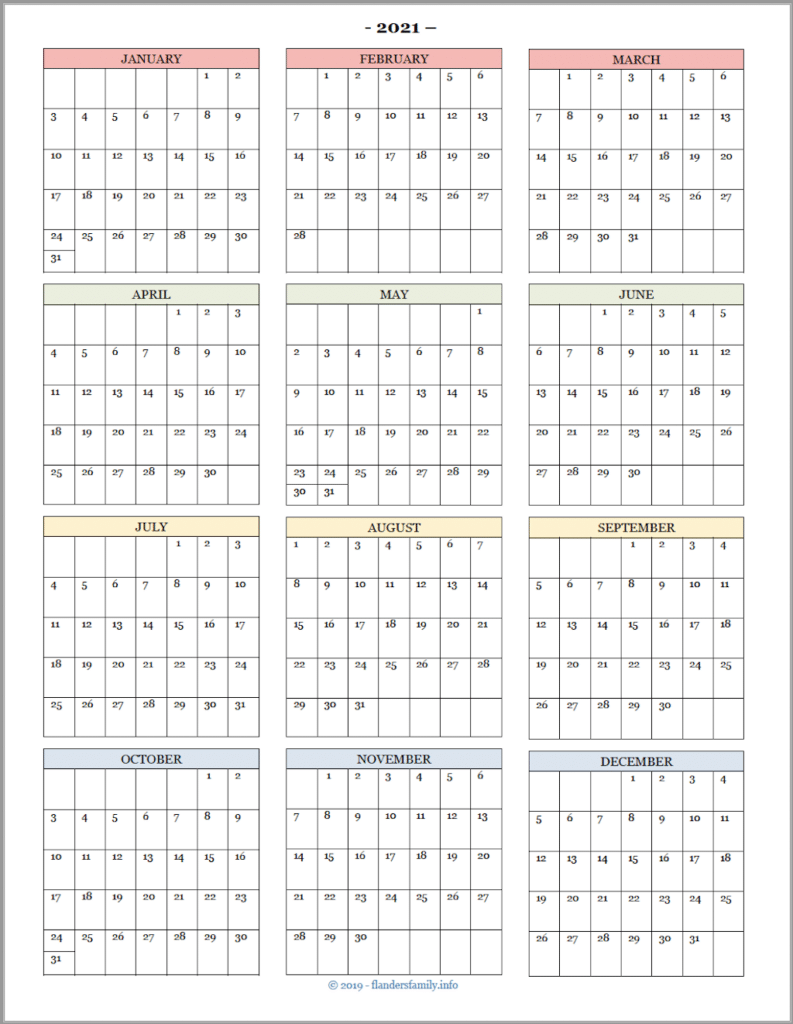2021 Year-at-a-Glance Calendar for Advanced Planning