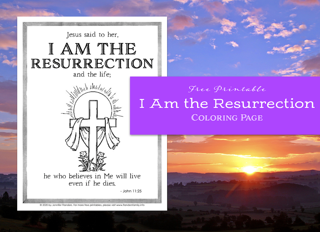 I Am the Resurrection Coloring Page