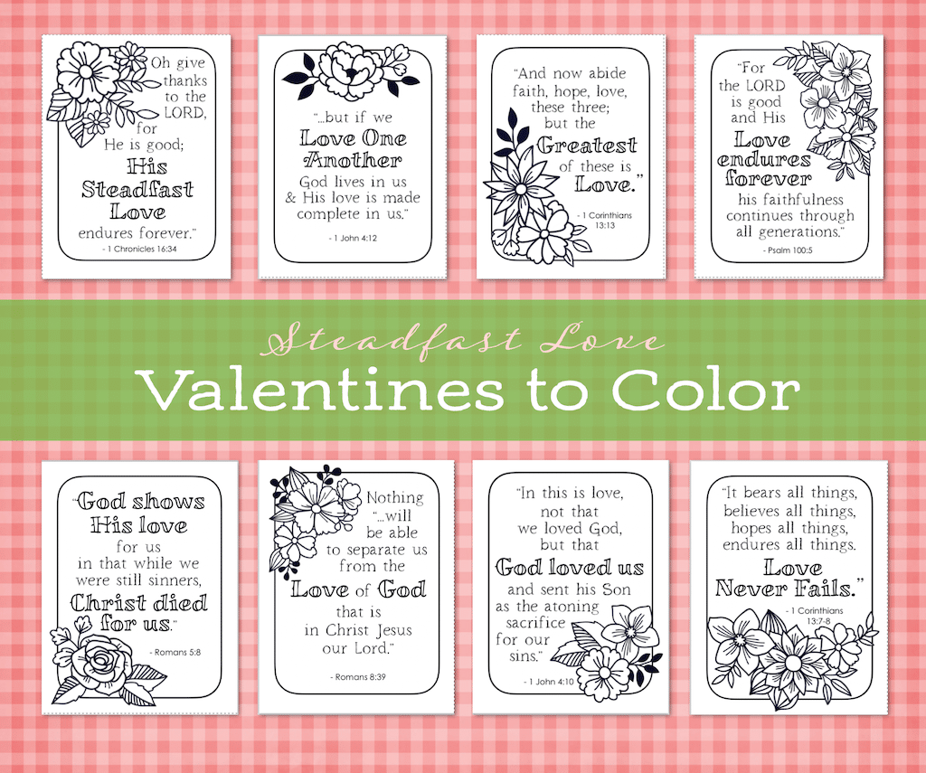 Steadfast Love Valentines to Color