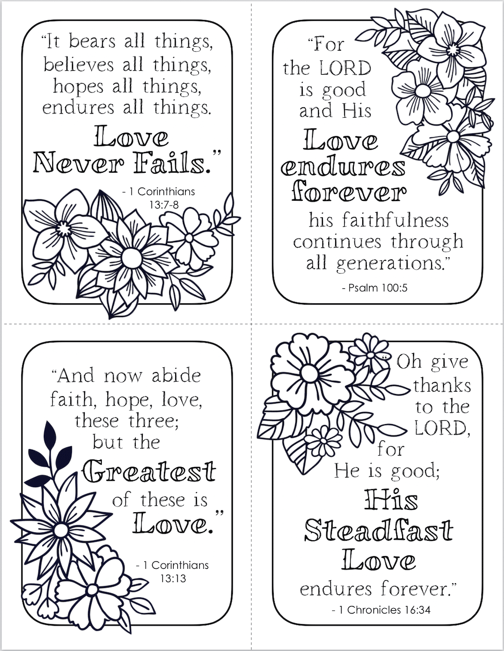 Free Printable Steadfast Love Valentines to Color
