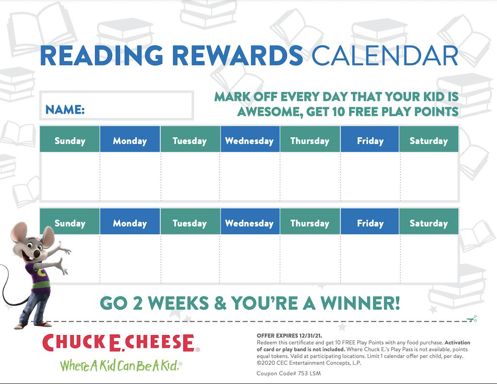 Chuck E Cheese 2021 Reading Reward Calendar