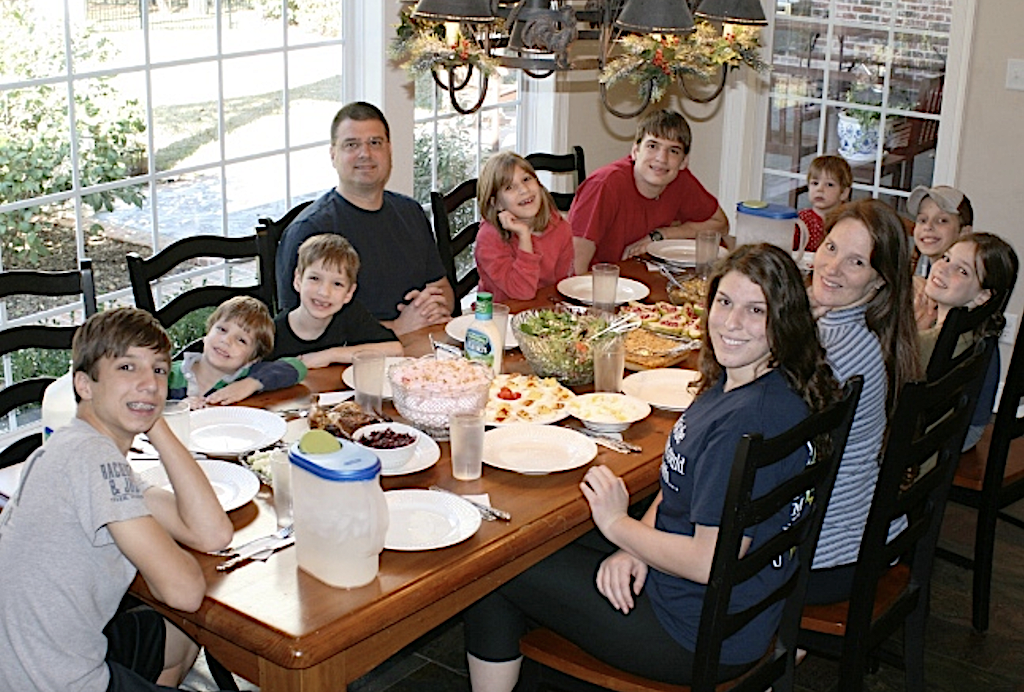 Flanders Family Dinner (with 9 of 12 children pictured)