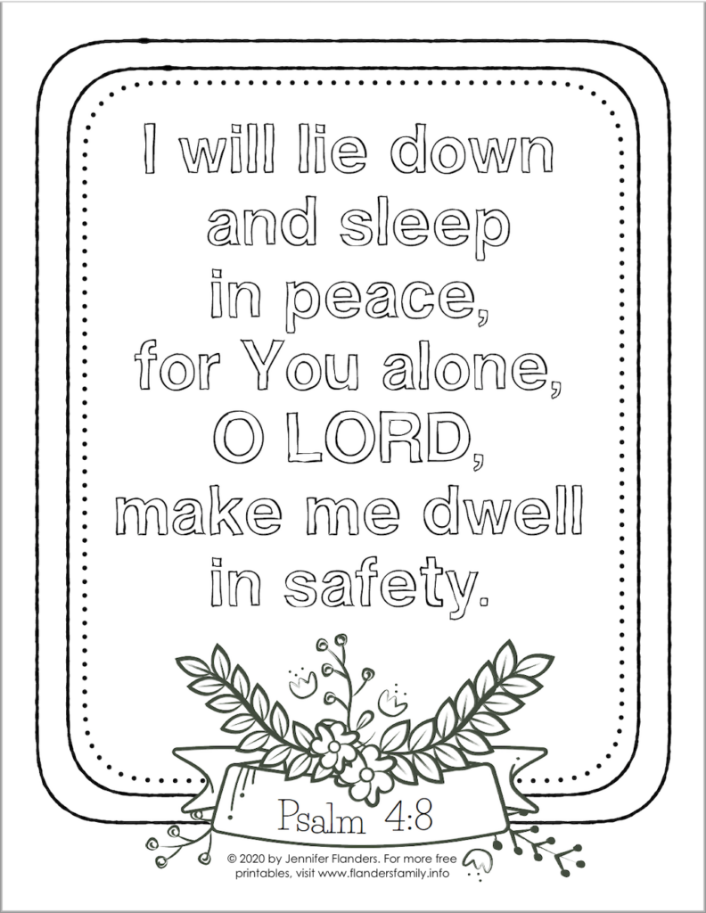 I Will Lie Down and Sleep Coloring Page - B&W