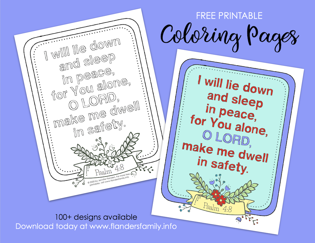 I Will Lie Down and Sleep Coloring Page