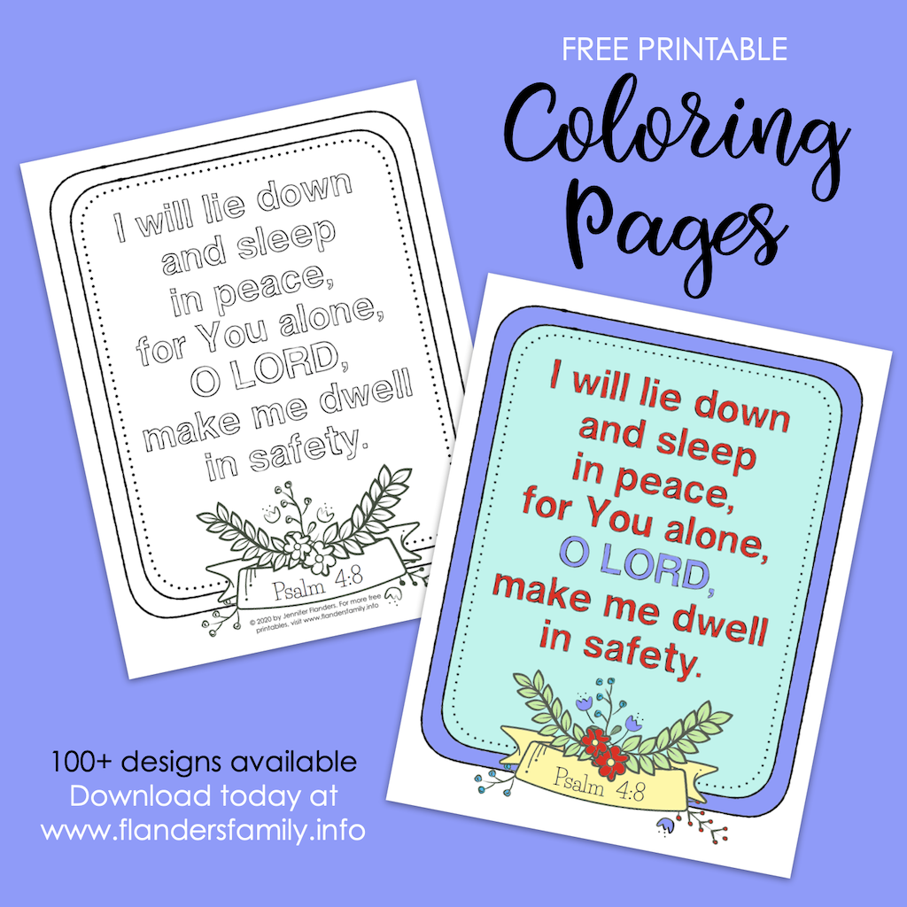 Free Printable I Will Lie Down and Sleep Coloring Page