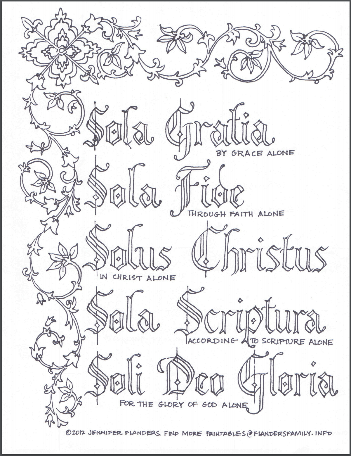 Free Printable Five Solas Coloring Page for Reformation Day
