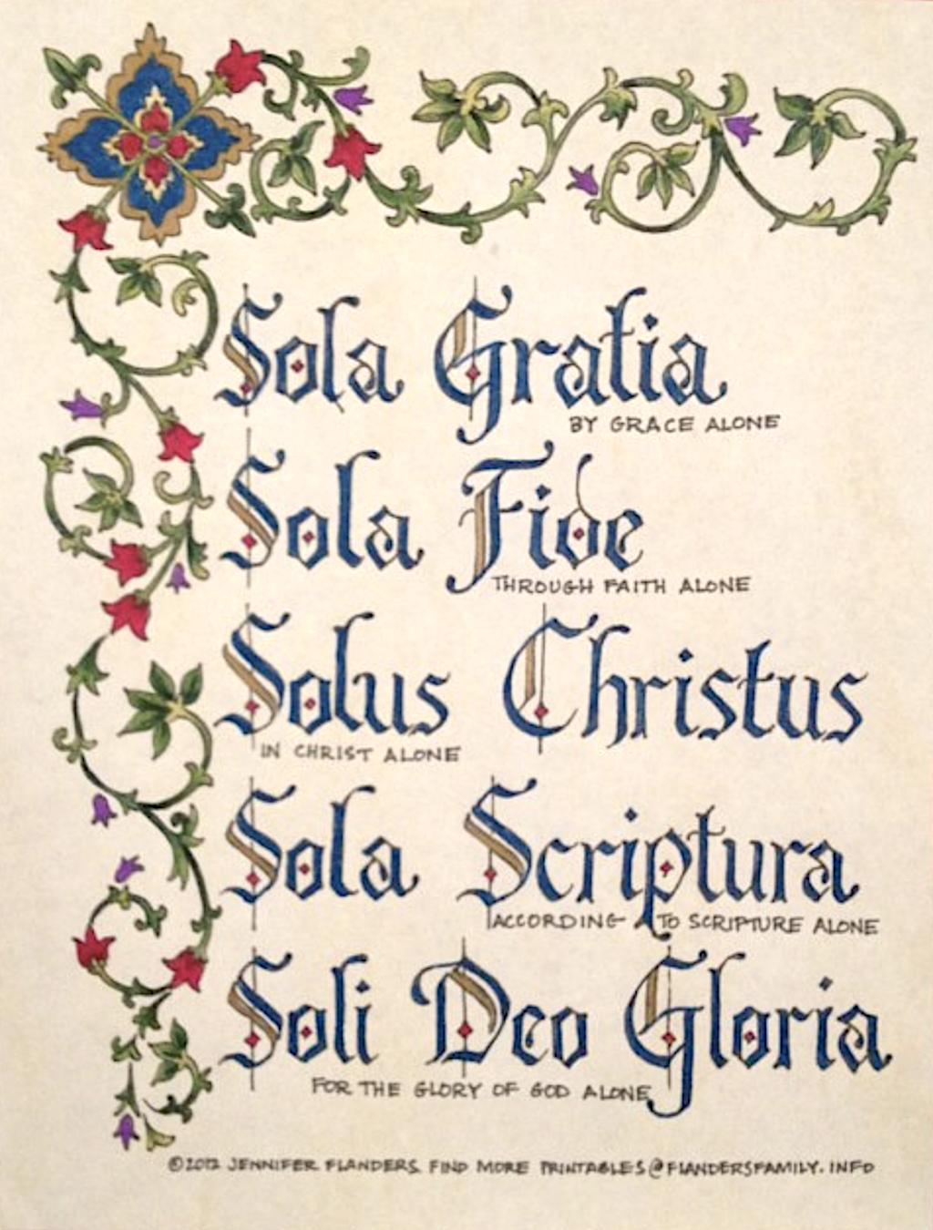 Five Solas Coloring Page