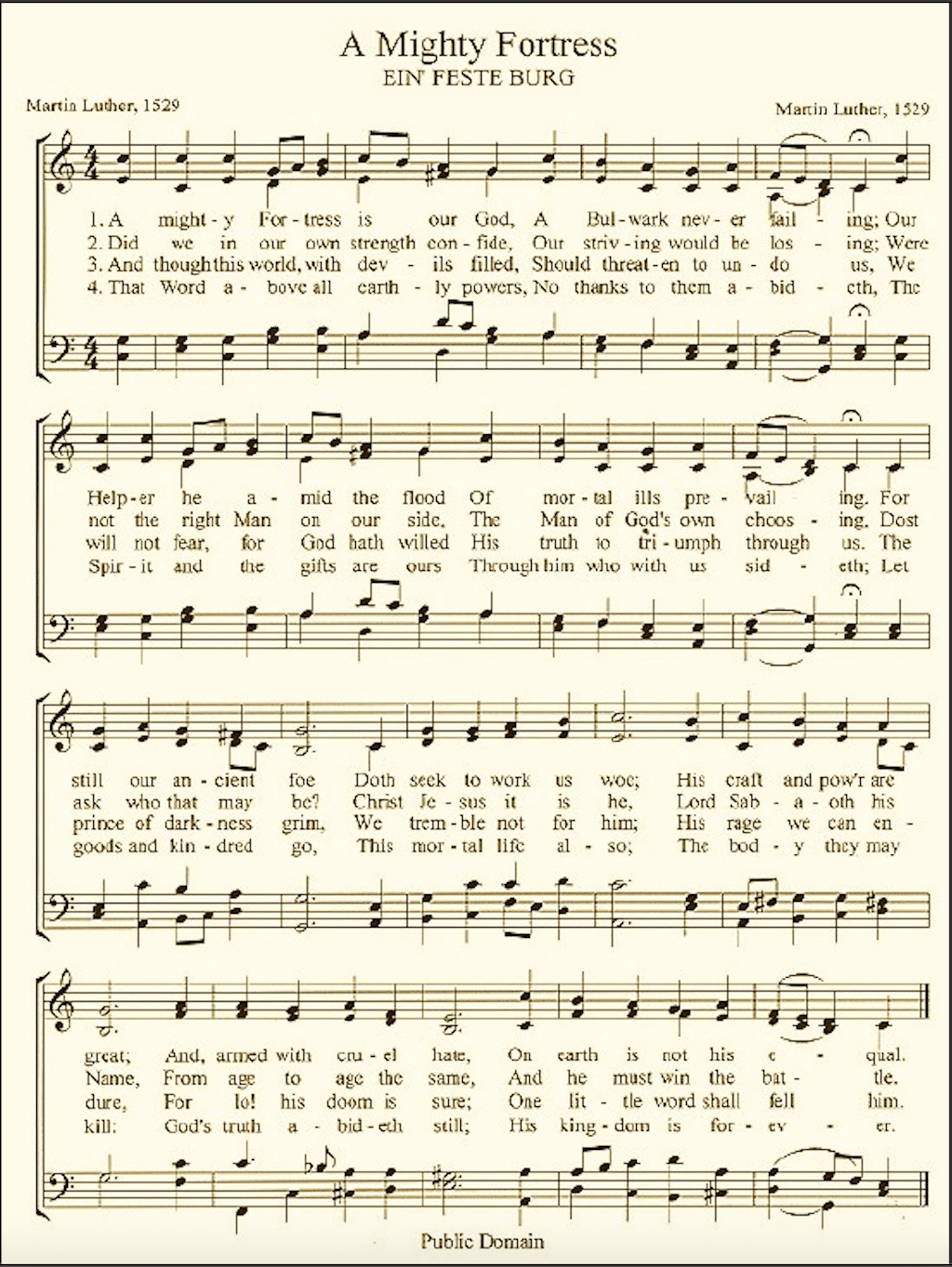 Sheet Music for Martin Luther Hymn