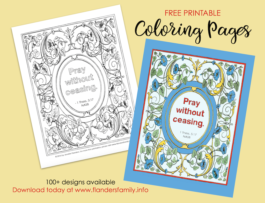 Pray without Ceasing Coloring Page