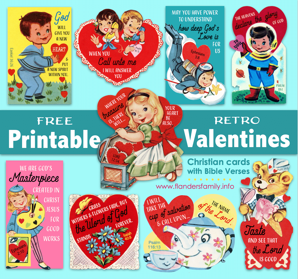 Retro Valentines With Bible Verses Flanders Family Homelife
