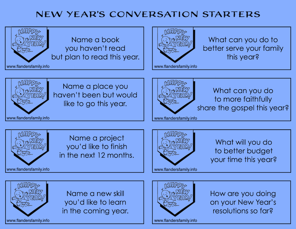 Free Printable New Years Conversation Starters