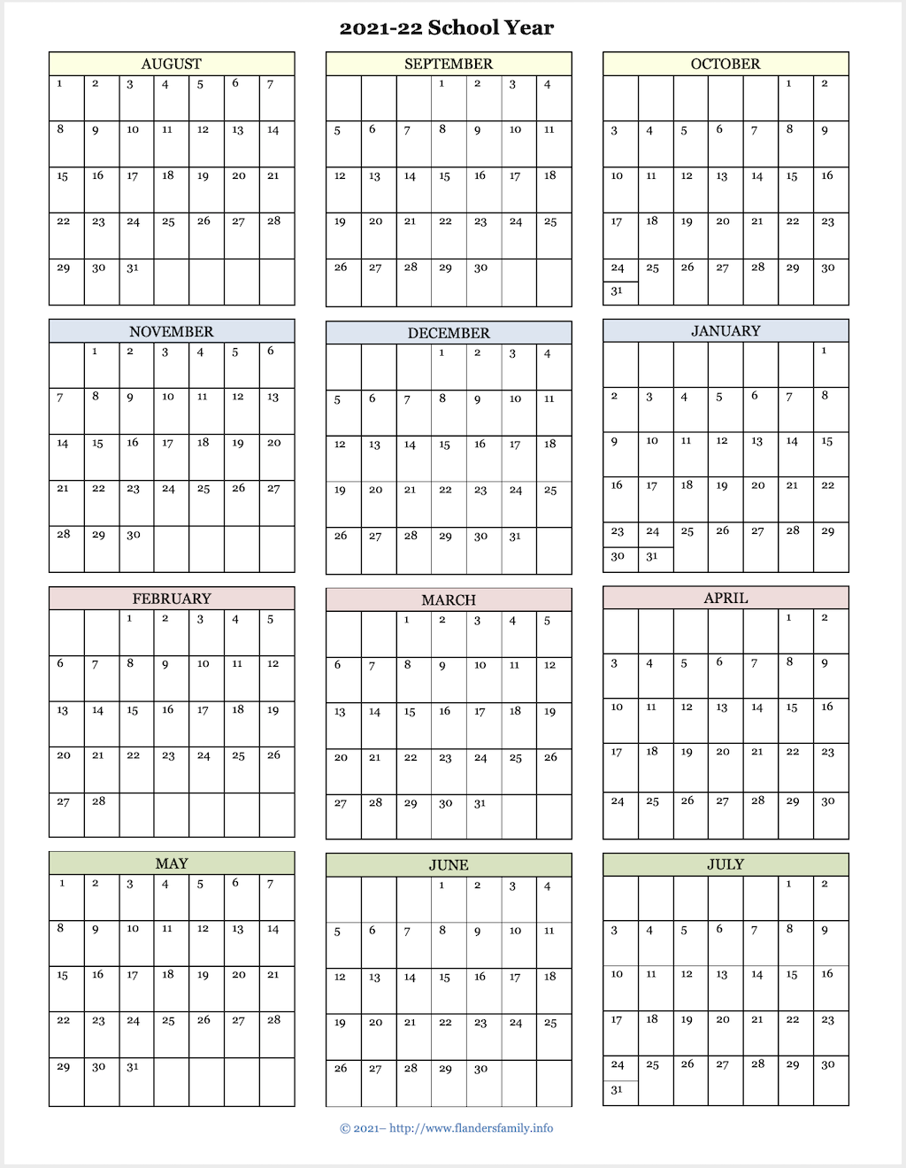 2021-22 Academic Calendar