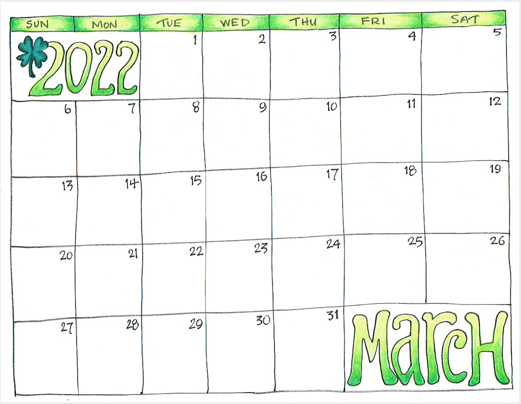 Hand-drawn March printable