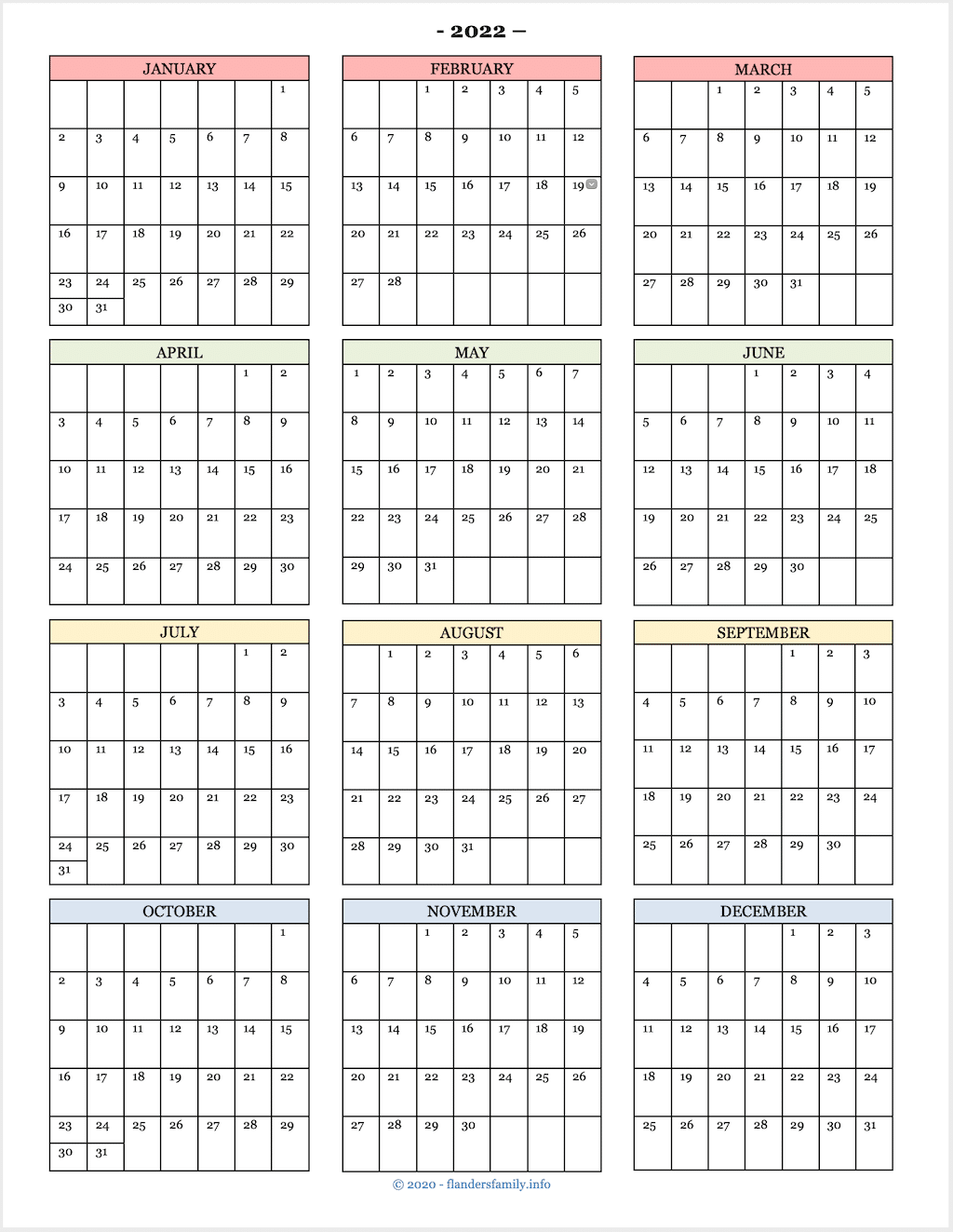 2022 Calendar At A Glance.2022 Calendars Free Printables Flanders Family Homelife