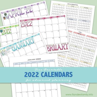 2022 Calendars (Free Printables)