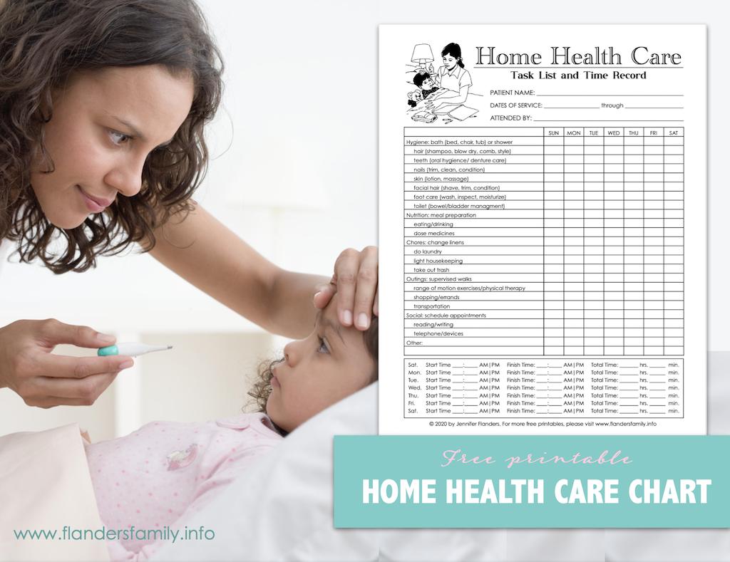 Free Printable Home Health Care Chart