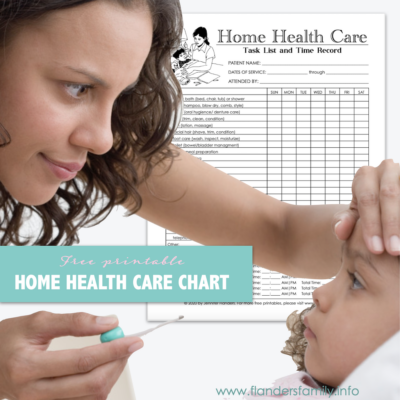 Free Printable Home Health Care Chart