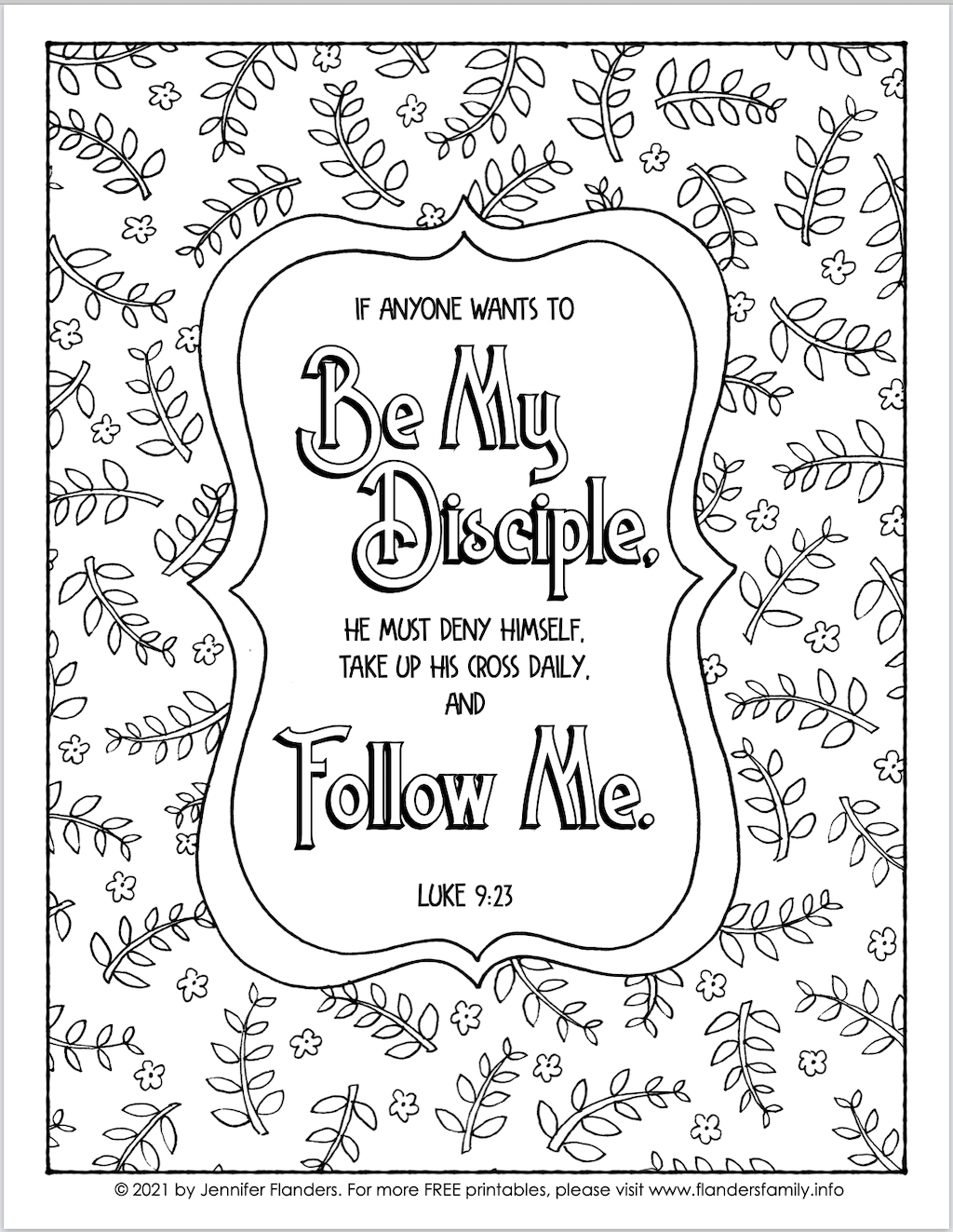 Be My Disciple Coloring Page