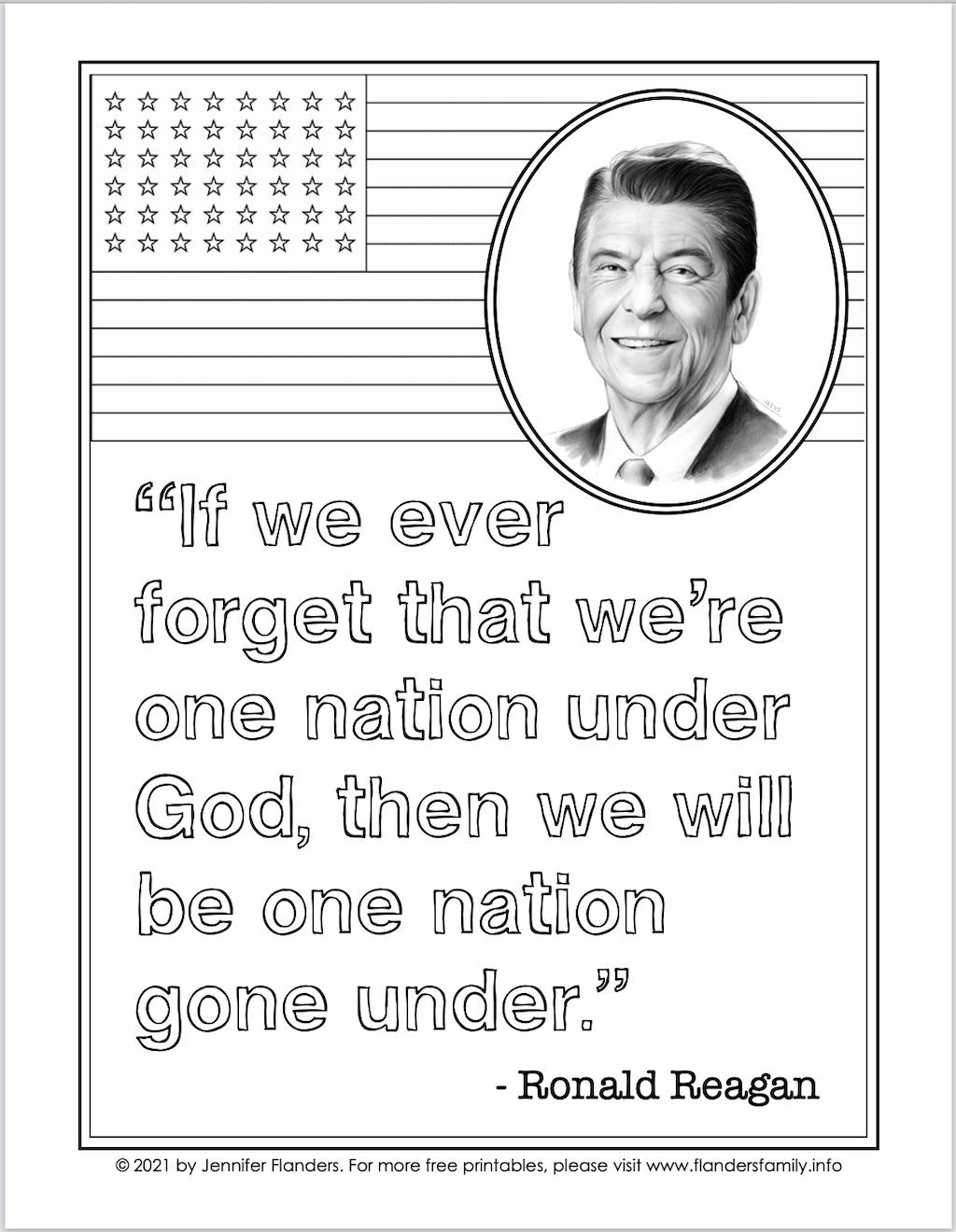 One Nation Under God Coloring Page