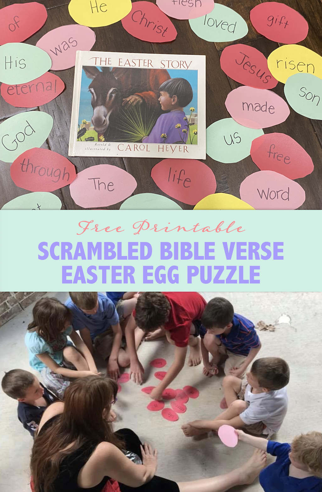Scrambled Bible Verse Easter Egg Puzzles -