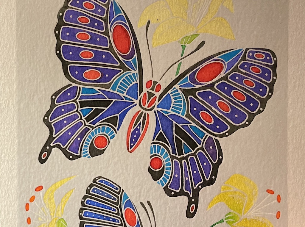 Close up of watercolor butterfly