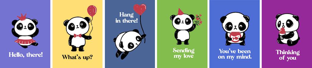 Bright Panda Note Cards