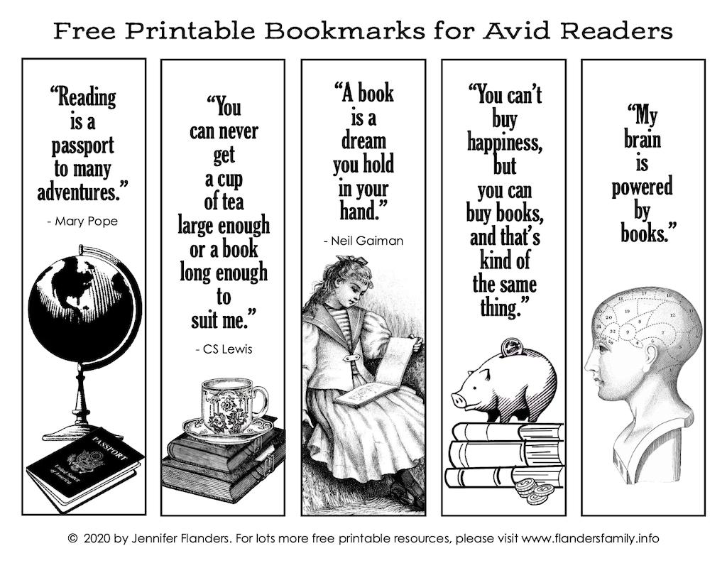 Free Printable Bookmarks - B&W