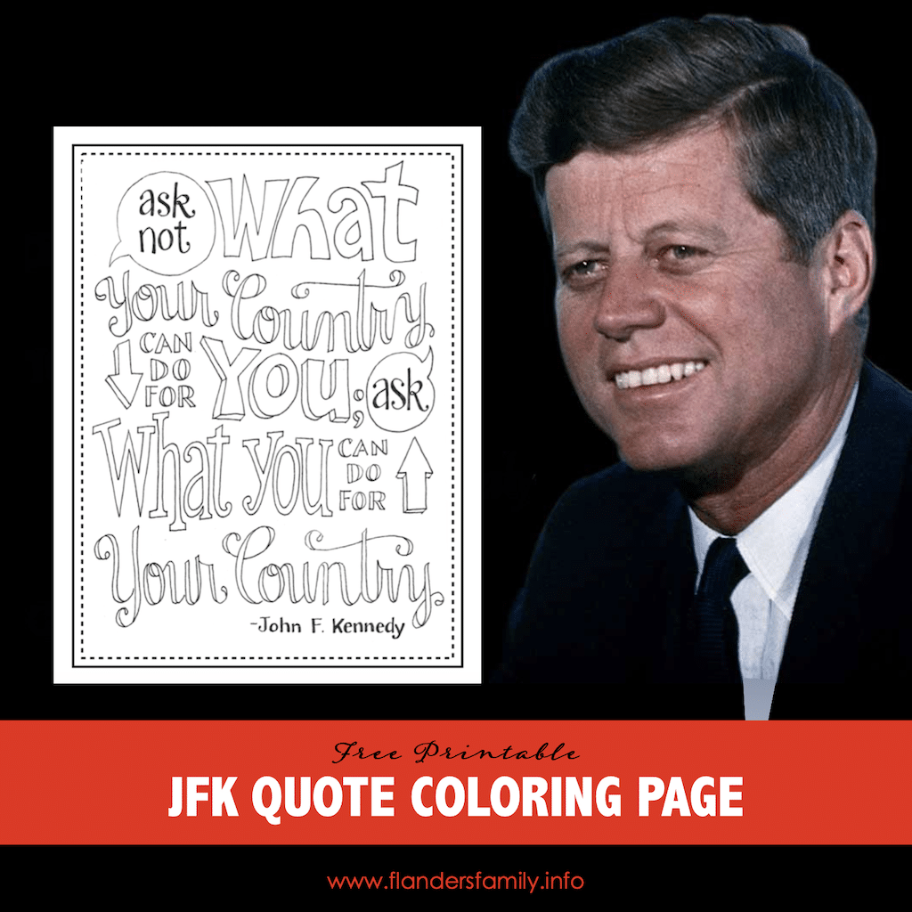 JFK Quote Coloring Page
