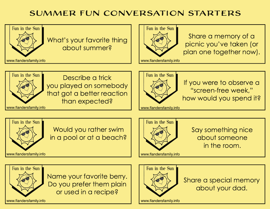 free printable family discussion prompts