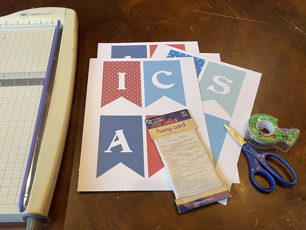 supplies needed for  Independence Day Pennant Banners