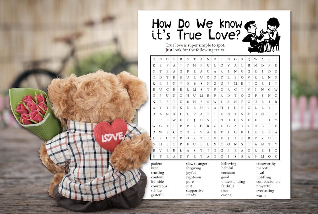 True Love Word Find Printable