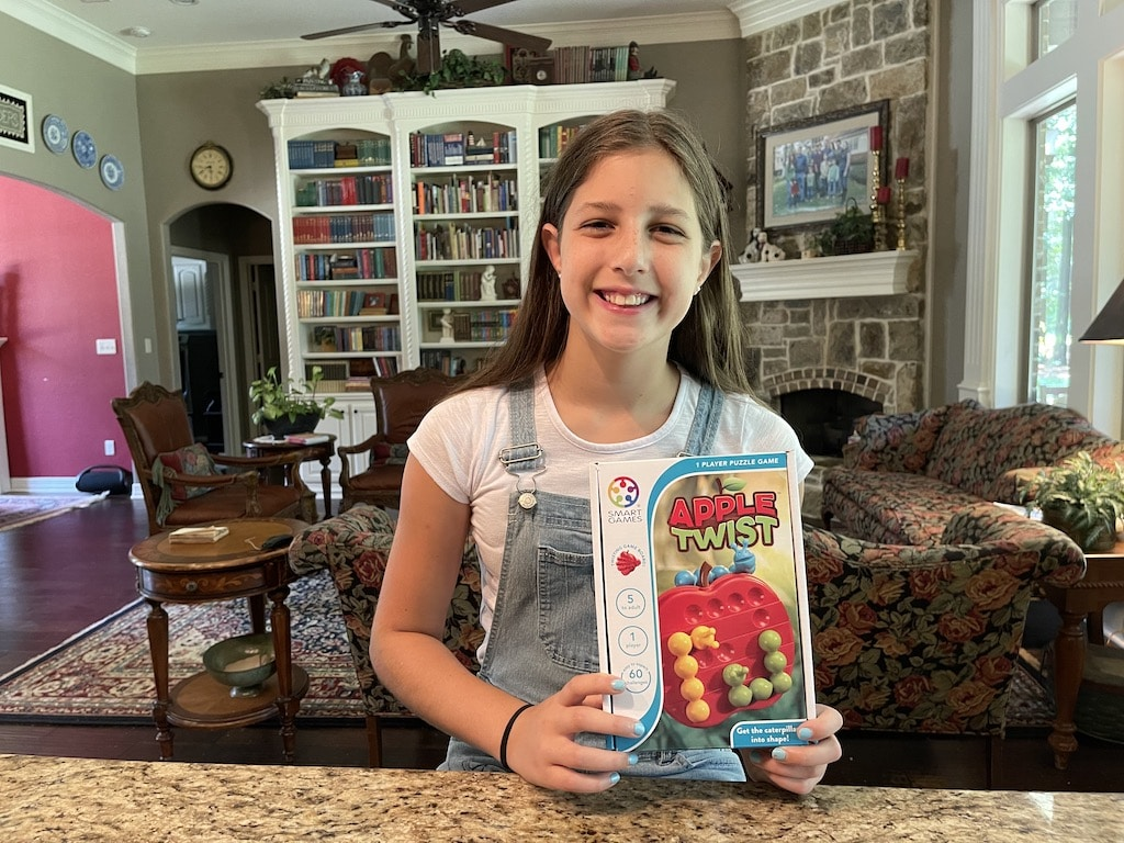 Abby shows off her new game