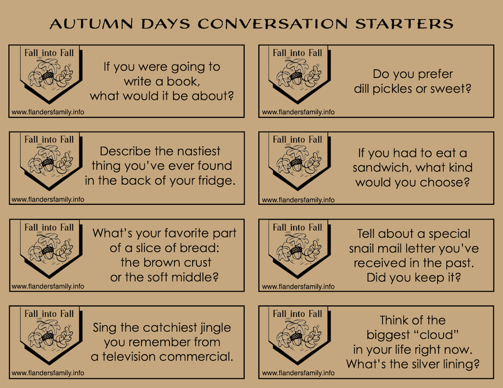 Free Printable Discussion Prompts for Fall