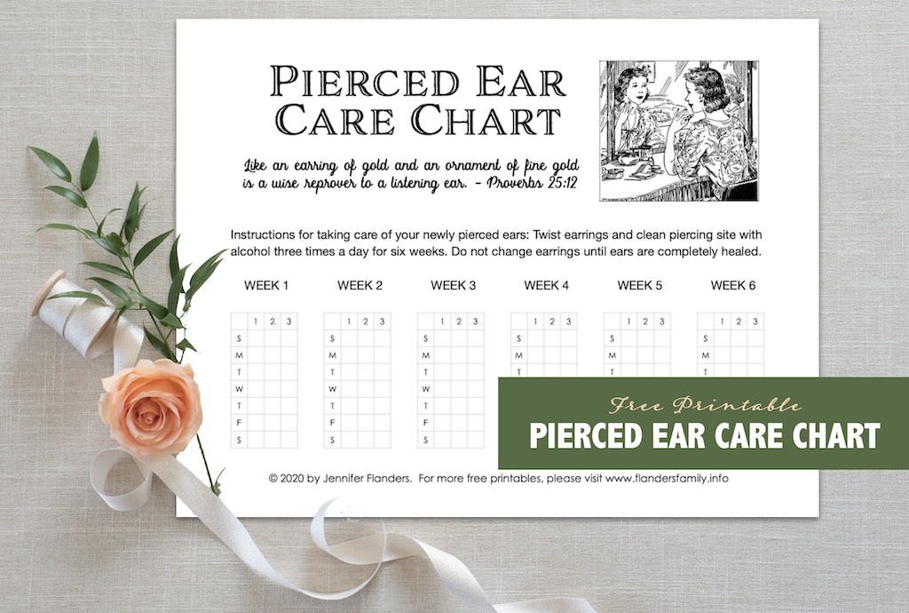 Free Chart for Taking Care of Pierced Ears