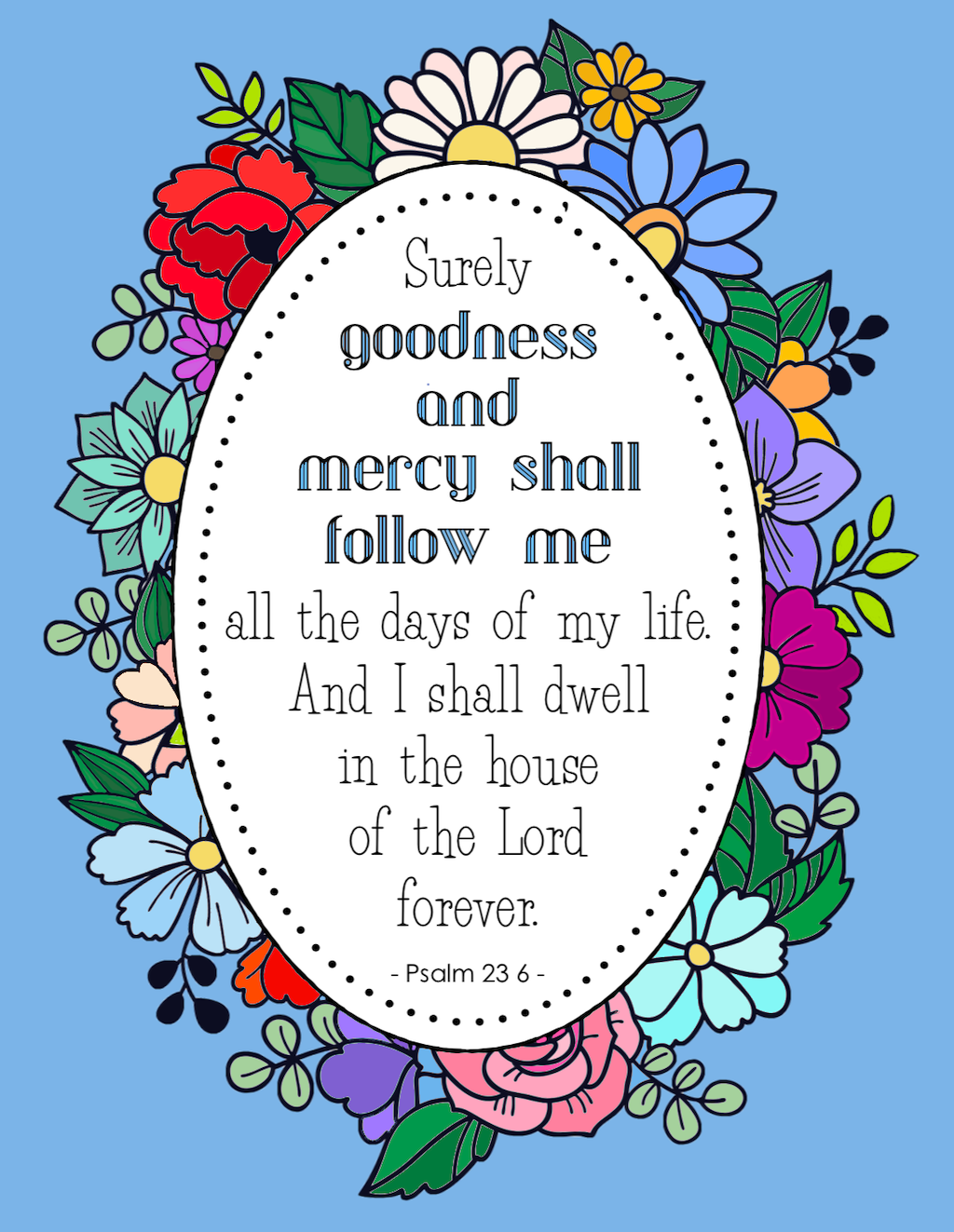 Surely Goodness and Mercy Coloring Page
