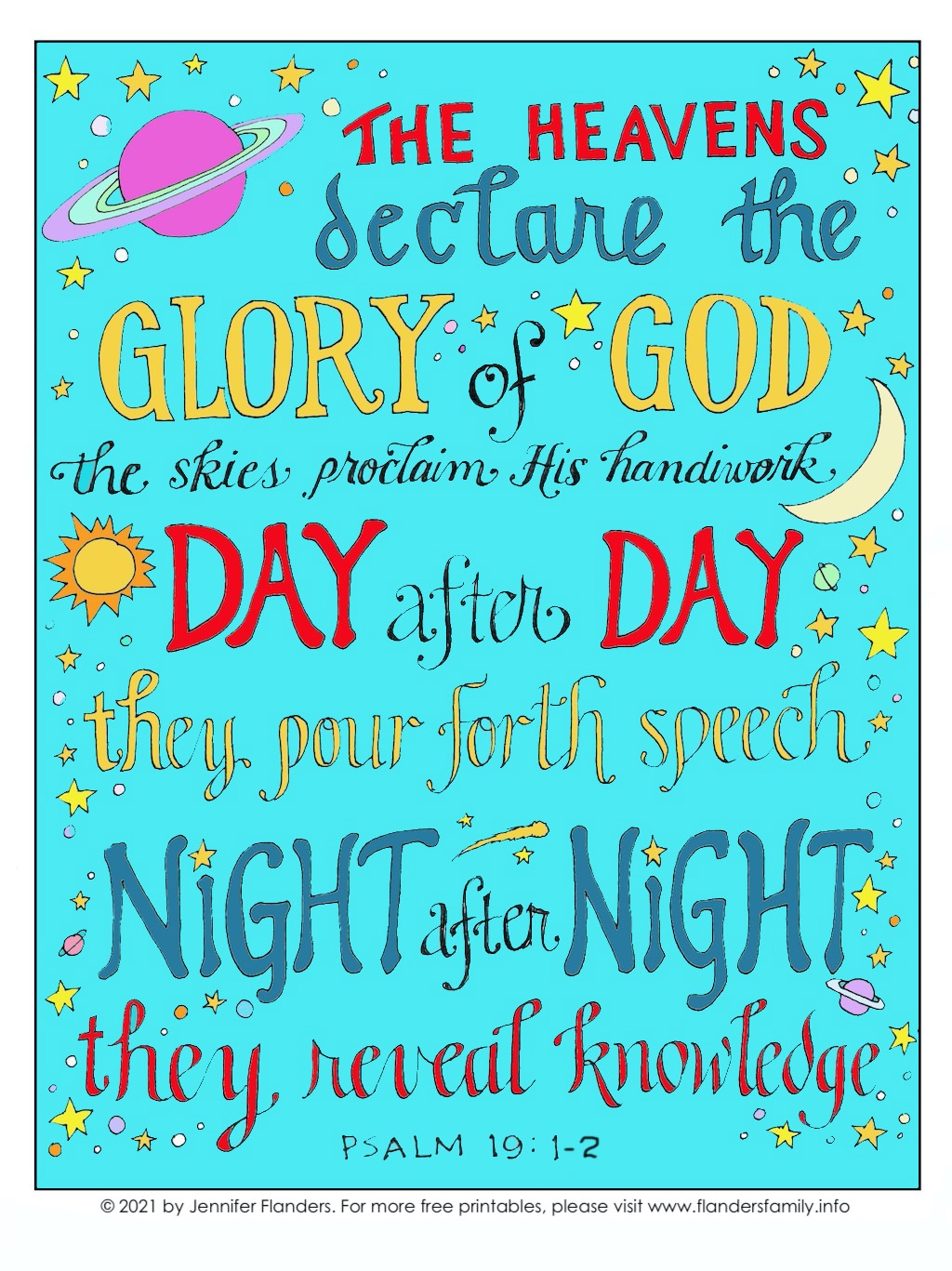 Heavens Declare Gods Glory Coloring Page